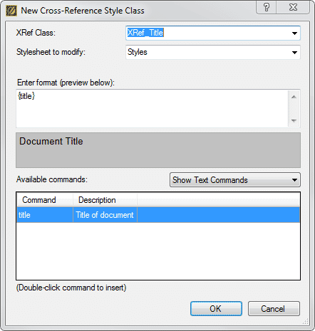 """Select """"Title"""" from the Text Commands in the XRef Style Class Editing Dialog"""